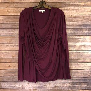 Gorgeous Burgundy Drape Front Blouse
